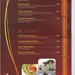 Home Specialties and Deserts Menu